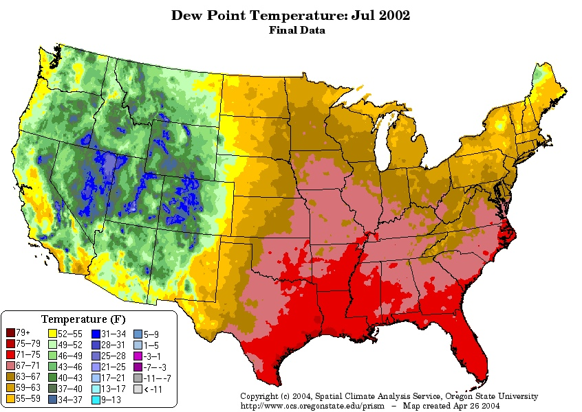 AverageJulyDewPointjpg - Us dewpoint map